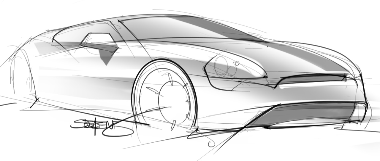 Quick car sketch with basic reflections – ScottDesigner