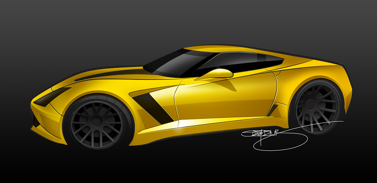 yellow c7 z06 rendering