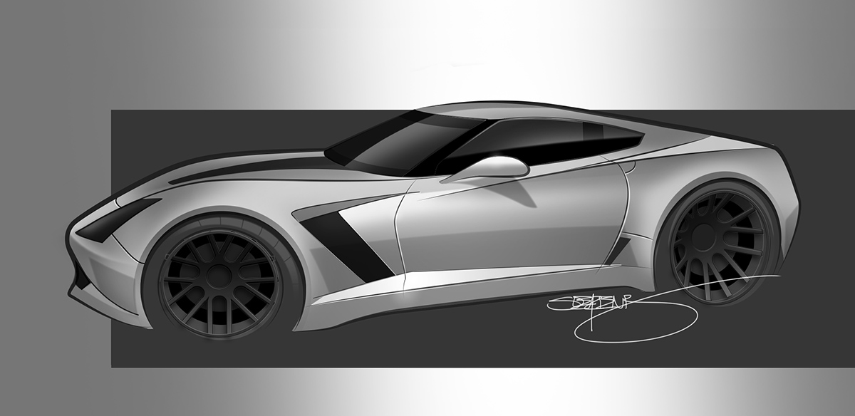 white corvette z06 rendering