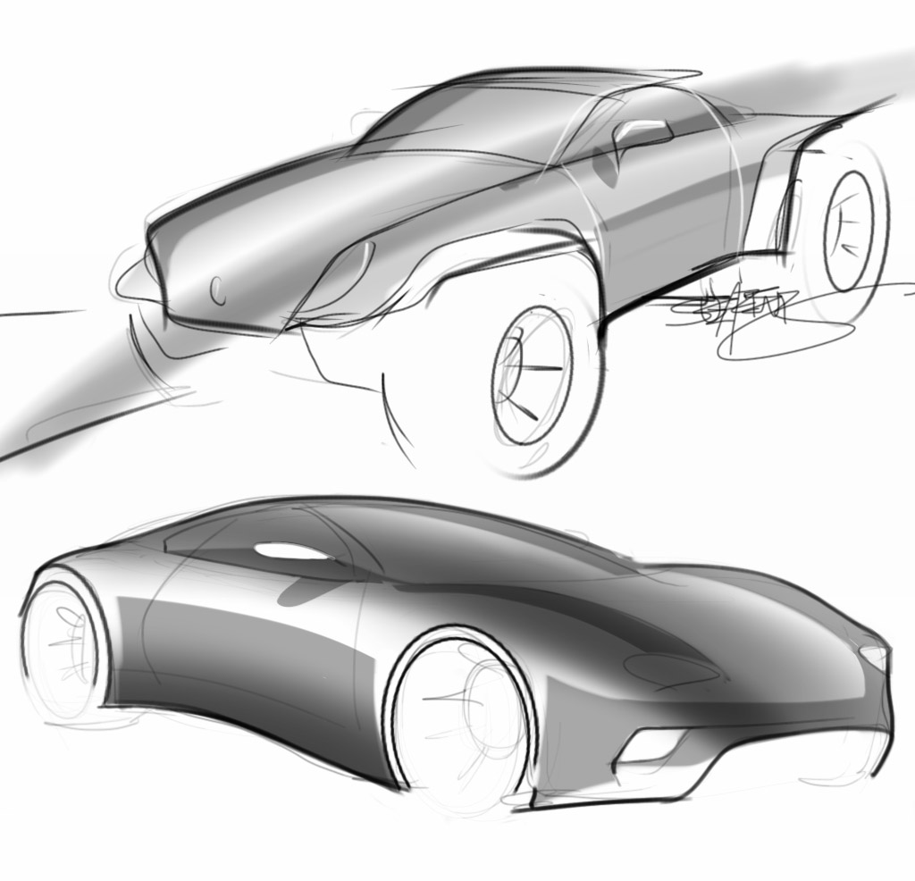 car and truck concept sketch