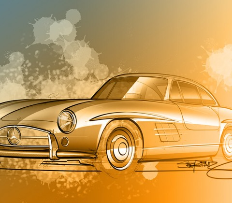 Mercedes Benz 300sl rendering and sketch