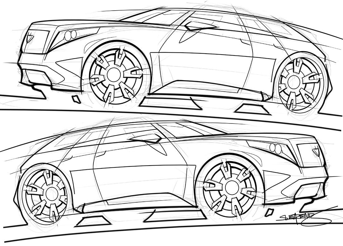 cadillac SUV concept sketch