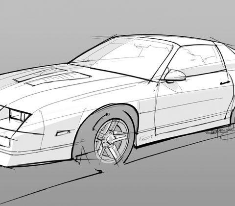 pencil sketch IROC-Z camaro