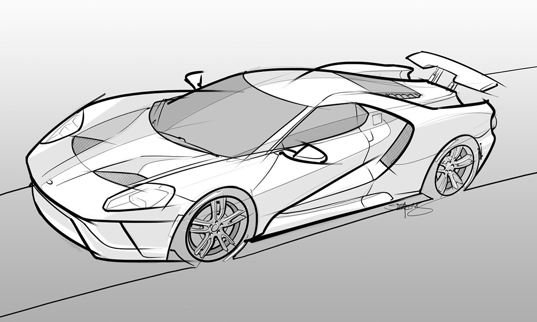 Drawing Of A 2017 Ford GT ...