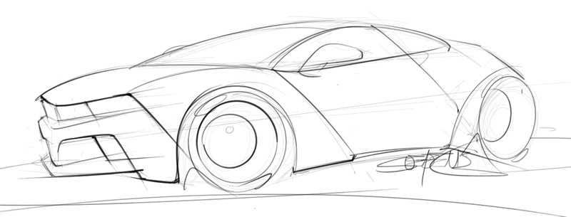 Hand drawn sketch of a two door sports car