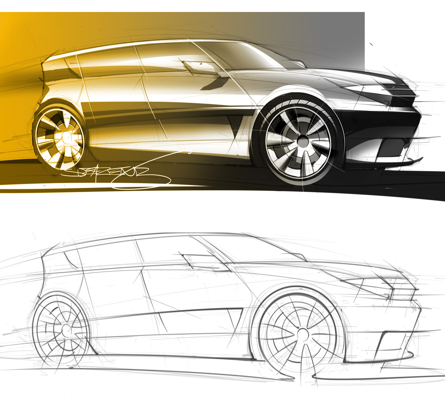 Sketch and rendering of a crossover-type SUV
