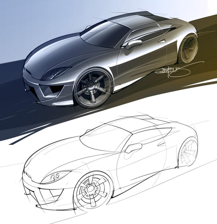 Two door sports car sketch and rendering \u2013 ScottDesigner