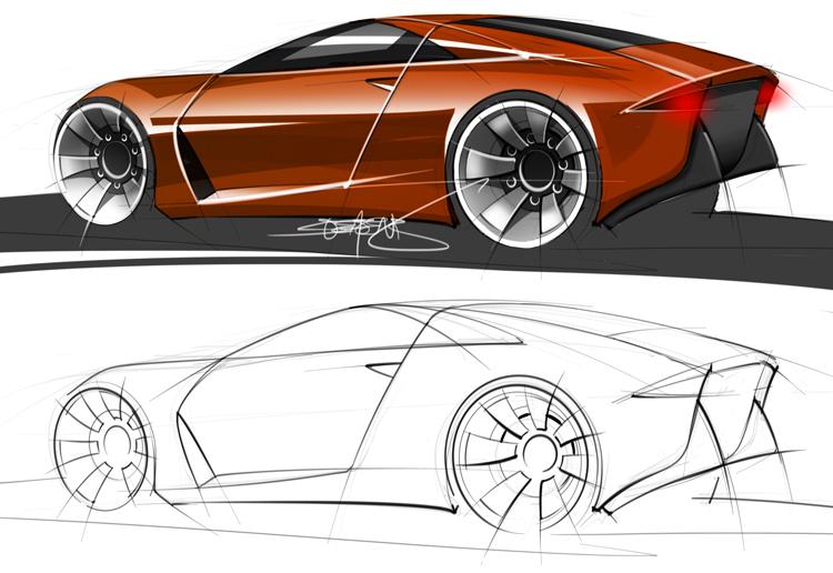 Aston Martin Concept Rendering And Sketch Scottdesigner