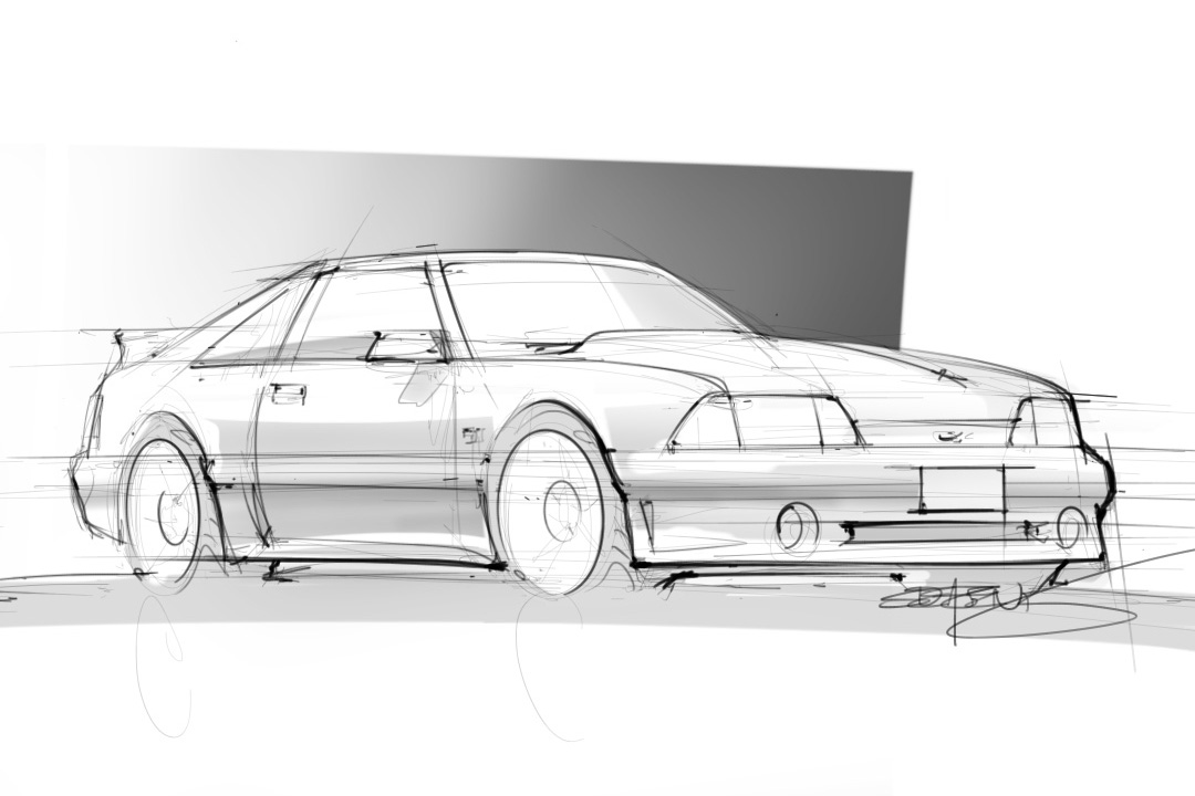 Quick Sketch Of A 1988 Ford Mustang Gt Scottdesigner
