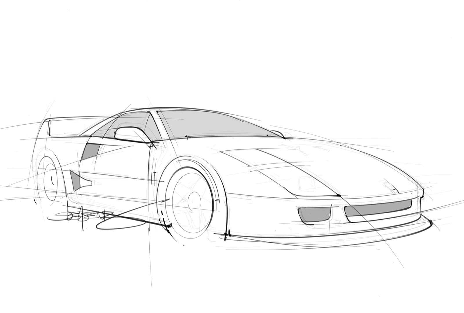 Quick Pencil Sketch Of A Ferrari F40 Scottdesigner