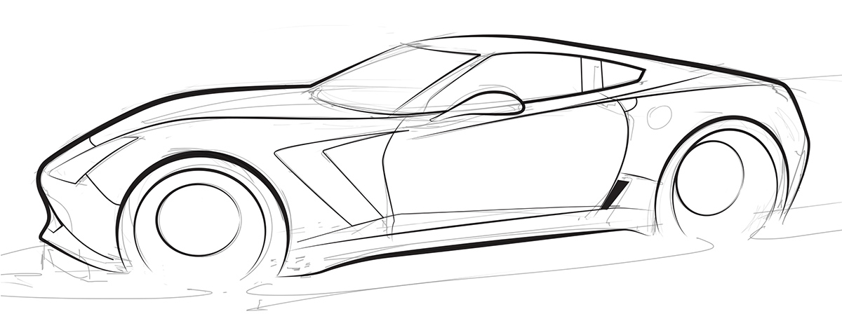 inked line drawing of the c7 corvette z06