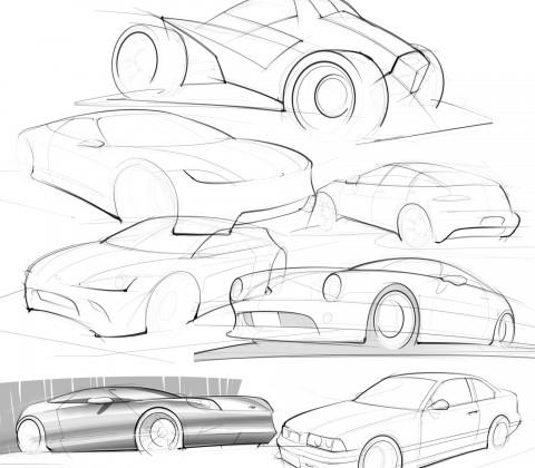 random car sketches