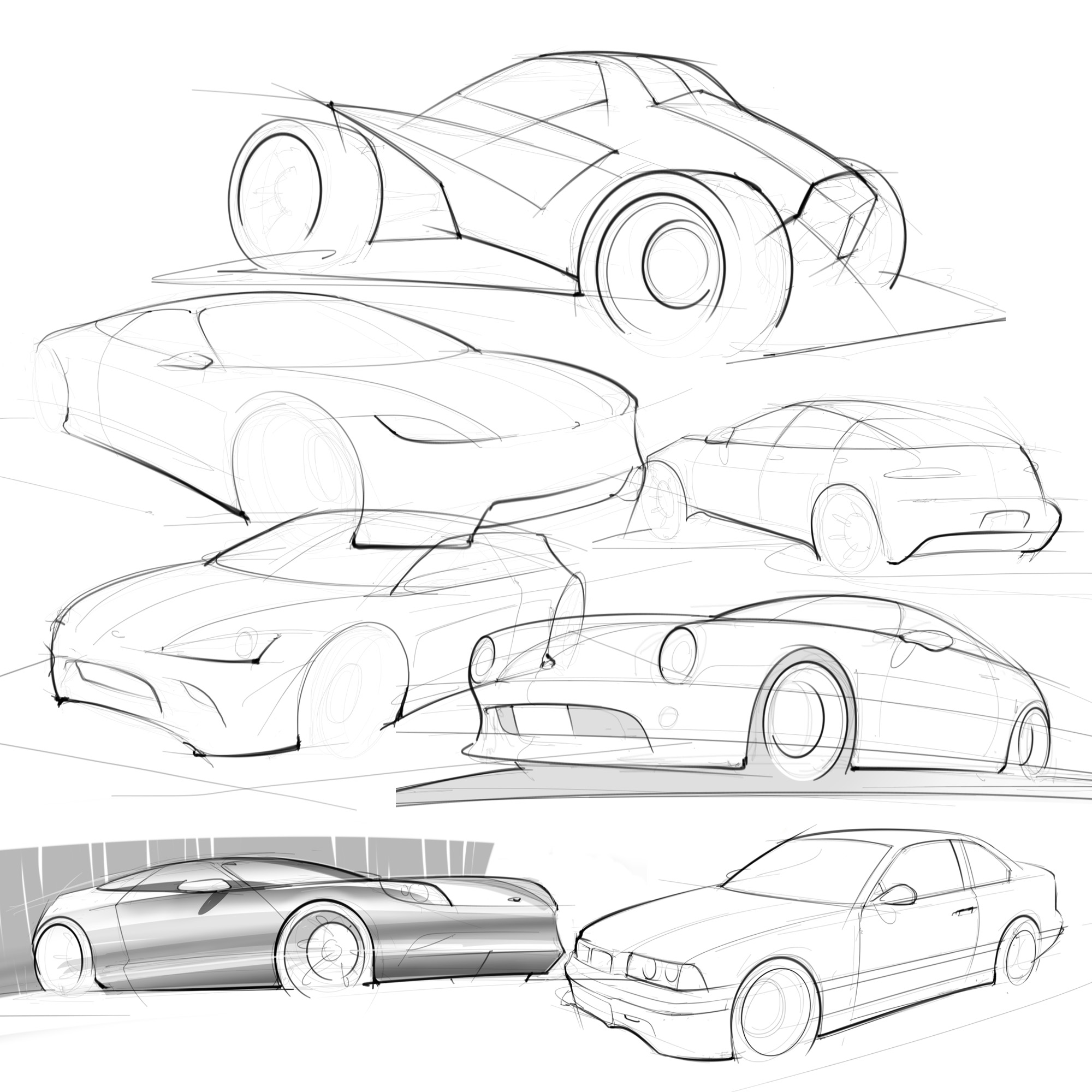 random car sketches