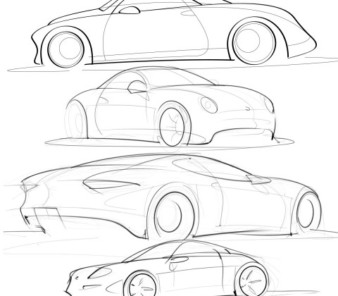 collection of car sketches