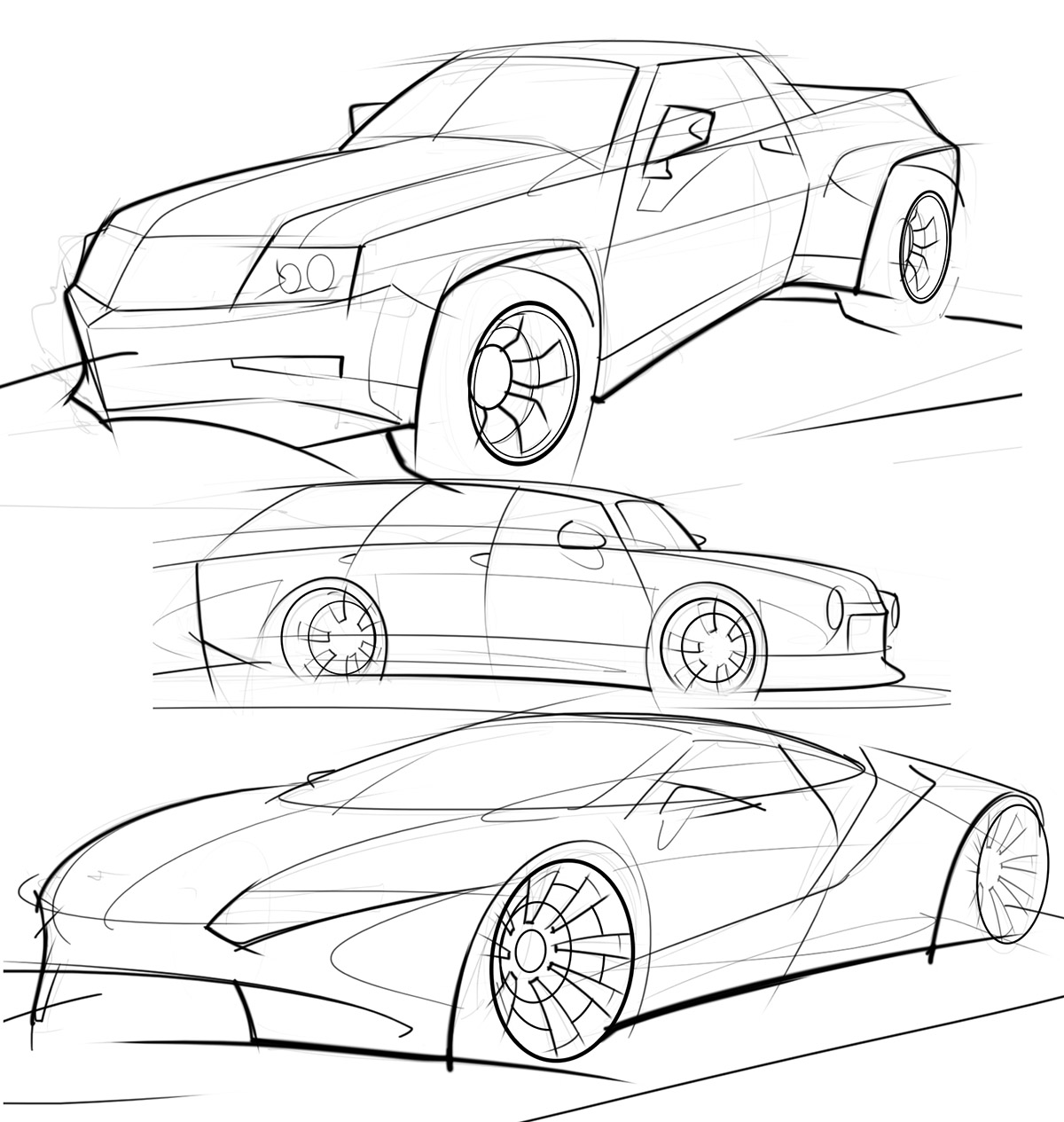 car sketches with varied line weights