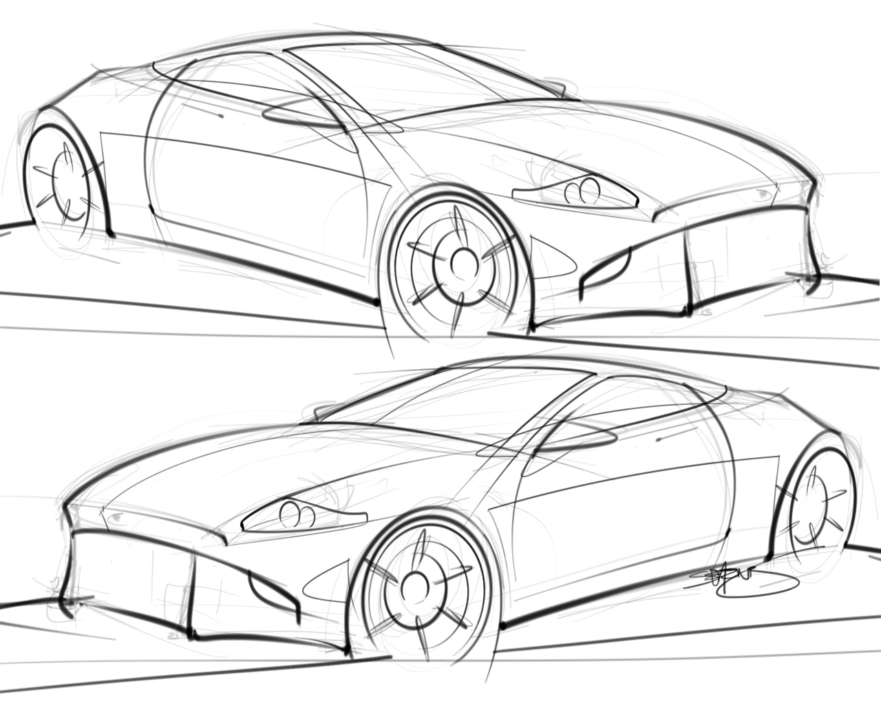 drawing cars practice