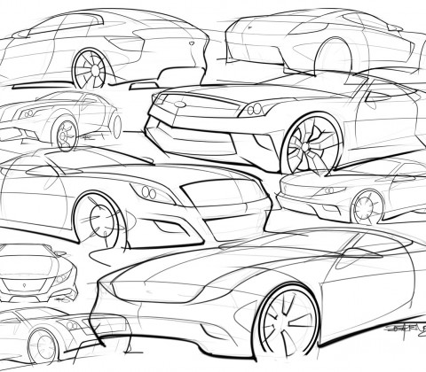 car sketches and drawings collection