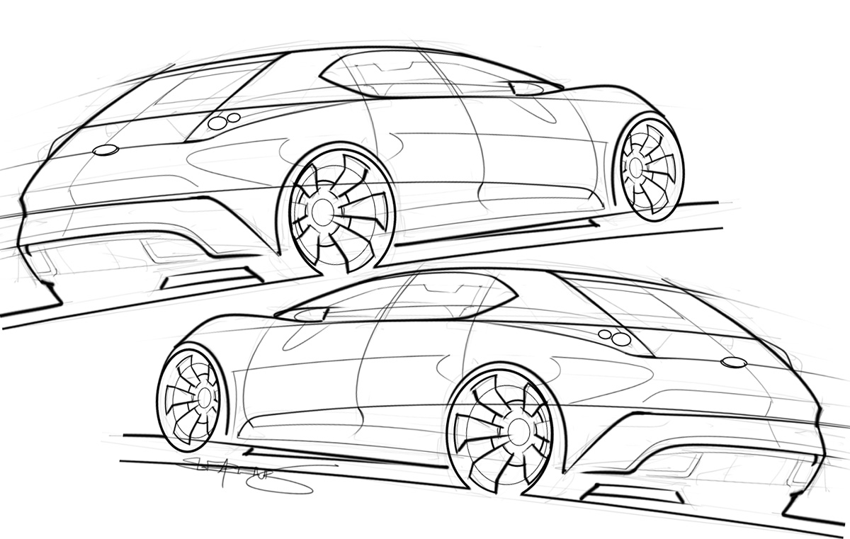 hot hatchback concept sketch
