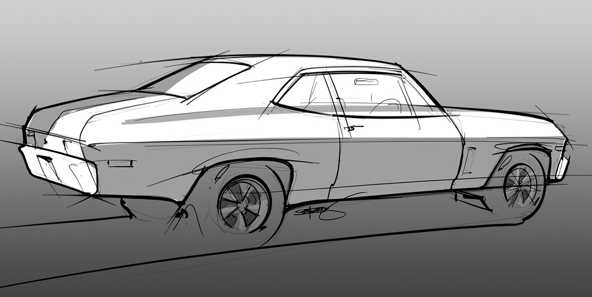 chevy Nova digital sketch