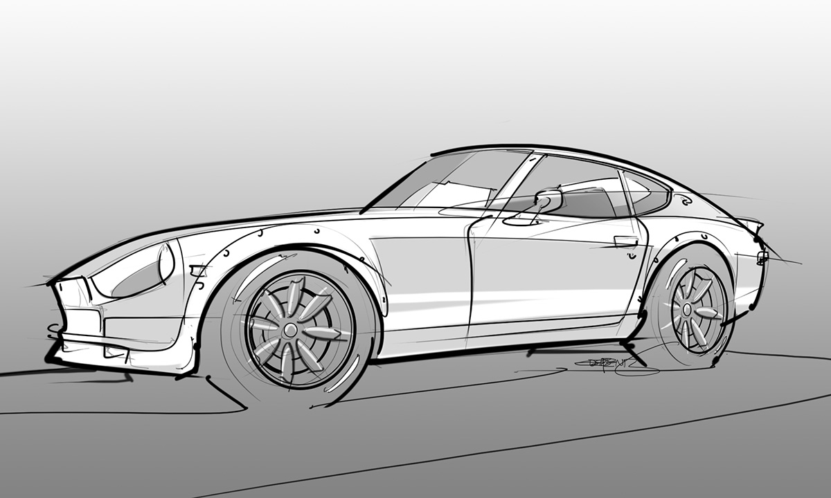 modded 280z drawing